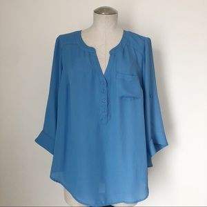 Torrid Blue Blouse with Roll Tab Sleeves Size 00